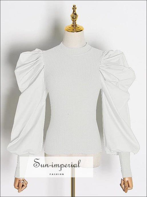 Women White Ribbed top with Long Puff Ruched Sleeve O Neck Blouse casual style, elegant Unique style SUN-IMPERIAL United States
