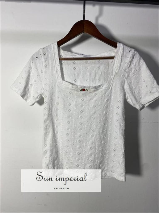 Women White Short Sleeve Embroidery Hollow out T-shirt Square Collar top Beach Style Print, bohemian style, boho casual harajuku style