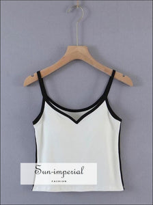 Women White Sweetheart Neckline Camisole with Padded Cup and Contrast Black Piping Cami top Basic style, casual chick sexy harajuku Preppy