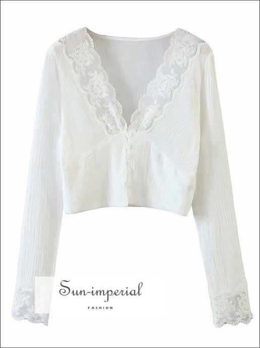 Women White V Neck Buttoned Long Sleeve Blouse with Lace Decor Vintage top elegant style, vintage style SUN-IMPERIAL United States