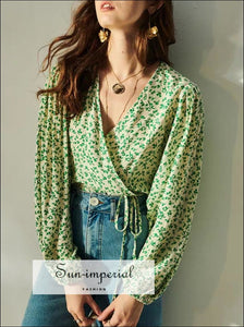 Women White with Green Floral Print Wrap Puff Long Sleeve Lace Tie Waist top vintage style SUN-IMPERIAL United States