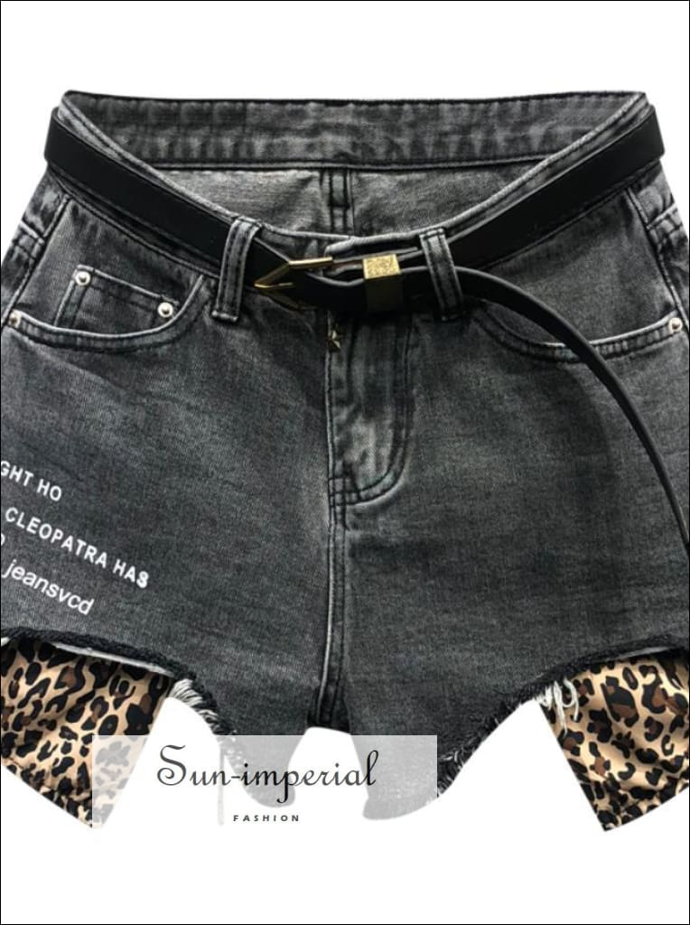 Women Wide Leg Denim Shorts Leopard Print Pocket Jeans Shorts