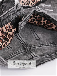 women wide leg denim shorts leopard print pocket jeans shorts SUN-IMPERIAL United States