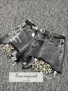 Women Wide Leg Denim Shorts Leopard Print Pocket Jeans SUN-IMPERIAL United States