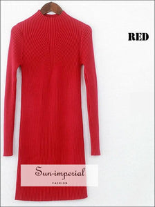 Women Winter Dresses Black Red Warm Sweater Dress Turtleneck Long Sleeve Skinny Split Pencil Knitted Office Dress SUN-IMPERIAL United States