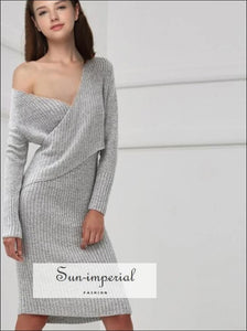 Women Wrap V Neck Ribbed Knit Dresses SUN-IMPERIAL United States