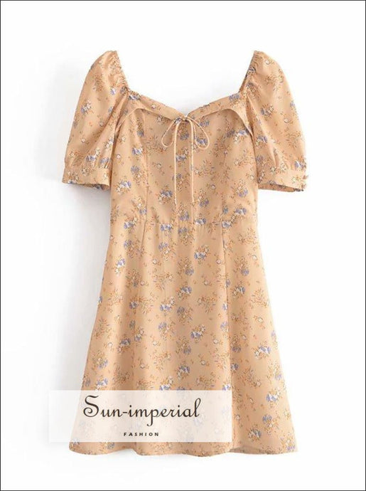 Women Yellow Floral Puff Short Sleeve A-line Mini Dress with Heart Shape Neckline and Center Bow With And Detail SUN-IMPERIAL United States