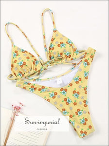 Women Yellow with Red Floral Print Bikini Set Tie front top High Waist side bottom SUN-IMPERIAL United States