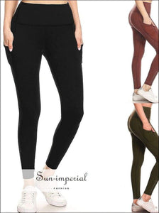 Women Yoga Pant High Waist side Pocket Elastic Breathable Pants Running Fitness Leggings Ladies plus SUN-IMPERIAL United States