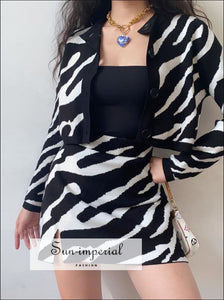 Women Zebra Cardigan and Mini Skirt 2 Piece Set bohemian style, boho casual chick sexy harajuku style SUN-IMPERIAL United States