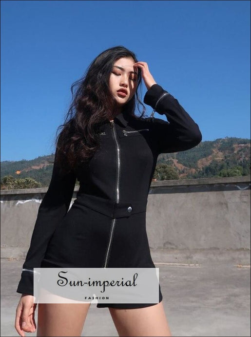 Women Ziper Black Romper Playsuit Slim Fit Short Length SUN-IMPERIAL United States
