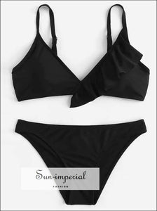 Women's Black Lace Beach Swimwear Two-piece Fashion Bikini Set High Waist Push-up Bra Swimsuit Chest