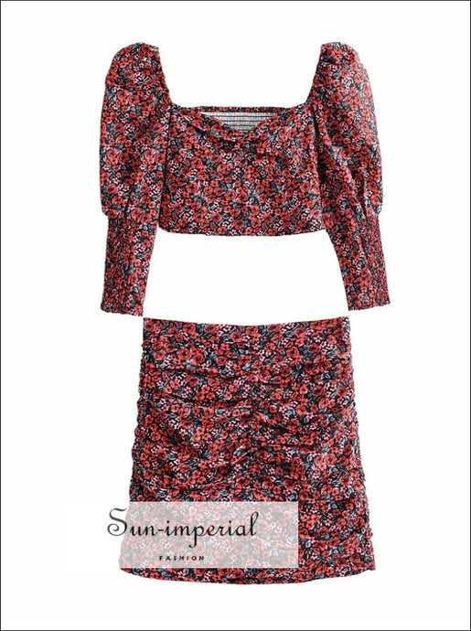 Women's Black with Red Rose Flower Print Puff Sleeve Square Neck top and Mini Skirt Two Piece 2 piece, piece set, skirt Beach Style Print,