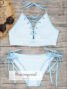 Women's Blue Striped Beach Swimwear Two-piece Bikini Set Push-ups High Waist Strap Swimsuit Monokini