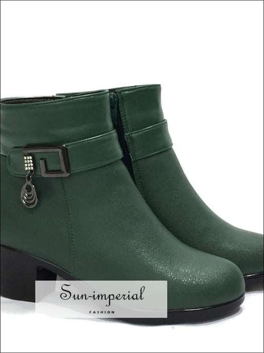 womens boots 100% natural genuine leather wool lining thick warm women snow Booties SUN-IMPERIAL United States
