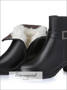 Women's Boots 100% Natural Genuine Leather Wool Lining thick Warm Women Snow Booties SUN-IMPERIAL United States