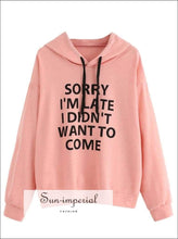 Women's Fashion Solid Color Letter Printing Long Sleeve Hooded Sweater Loose Casual Sweatshirt SUN-IMPERIAL United States