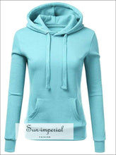 Women's Fashion Solid Color Zipper Long-sleeved Hooded Sweater Loose Casual Warm Sweatshirt Sports
