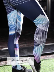 Women's High Waist Bodycon Fit Yoga Geometric Print Fitness Pants Running Exercise Breathable