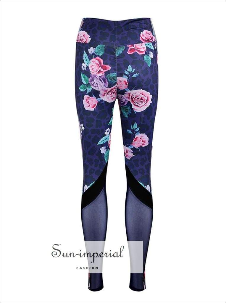 Women's High Waist Fashion Flower Print Stitching Fitness Yoga Leggings Running Training SUN-IMPERIAL United States