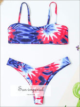 Women's Painted Sling Beach Swimwear Two-piece Bikini Set High Waist Push-up Bra Swimsuit Chest Pad SUN-IMPERIAL United States