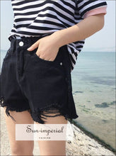 Women's Ripped Denim Shorts