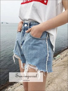 womens ripped denim shorts BASIC SUN-IMPERIAL United States