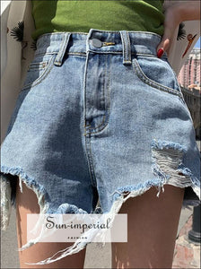 womens ripped washed dostrapted casual denim shorts BASIC SUN-IMPERIAL United States