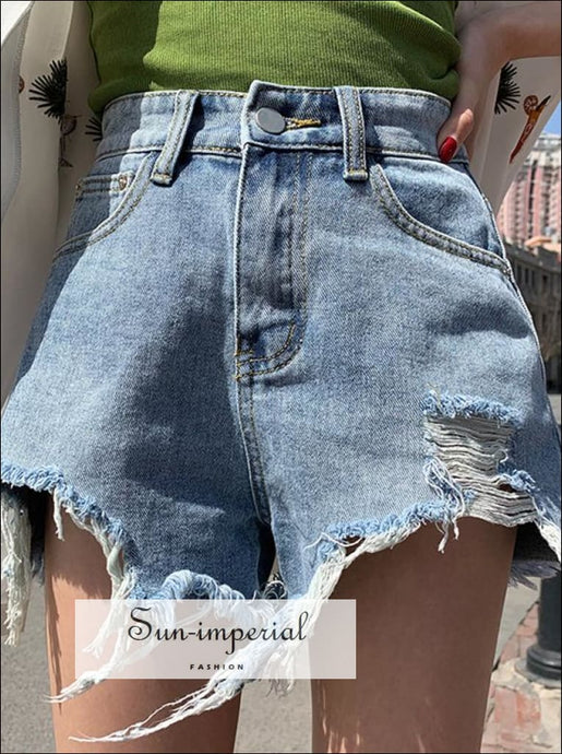 Women's Ripped Washed Dostrapted Casual Denim Shorts BASIC SUN-IMPERIAL United States