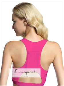 Women's Solid Color back Pocket Portable Mobile Phone Yoga Shockproof Sports Bra Fitness Exercise SUN-IMPERIAL United States