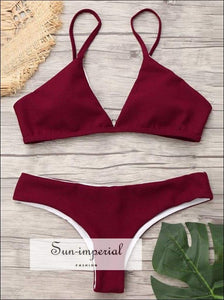 Women's Solid Color Beach Swimwear Fashion Two-piece High Waist Bikini Set Push-up Bra Straps SUN-IMPERIAL United States