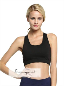 Women's Solid Color Soft Sports Bra back Pocket Running Yoga Buffer Fitness Exercise Breathable SUN-IMPERIAL United States