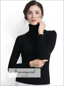 Women's Turtleneck Tops Basic Long Sleeve Polo Neck Shirt SUN-IMPERIAL United States