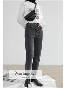 Womens washed black High Waist Straight Leg Jeans SUN-IMPERIAL United States