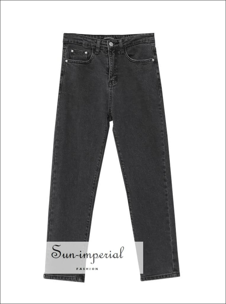 Women's Washed Black High Waist Straight Leg Jeans SUN-IMPERIAL United States