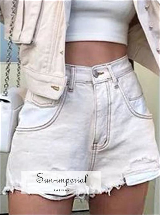 Womens Washed High Waist Ripped Denim Shorts BASIC SUN-IMPERIAL United States