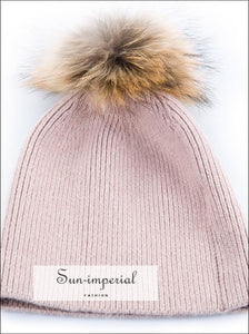 Wool Blended Knit Hat with Detachable Real Fur Pom Women Fall Winter Hats Beanies SUN-IMPERIAL United States