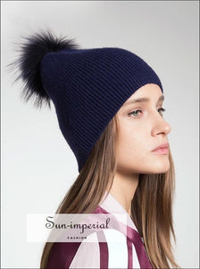 Wool Blended Knit Hat With Detachable Real Fur Pom Pom Women Fall Winter Hats Beanies SUN-IMPERIAL United States
