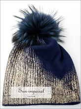 Wool Blends Metallic Beanie Knit Hat with Fur Pom Pom Slouchy Women Winter Hats