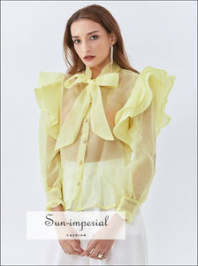Yahli top - Yellow Sheer Chiffon Puff Long Sleeve Bowknot Women Blouse with Ruffle and Pearl Buttons elegant style, harajuku Preppy Style