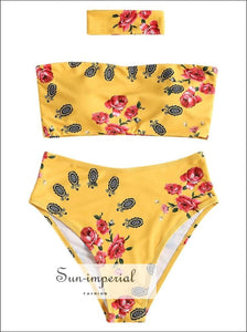 Yellow and white Floral High Rise Strapless Bikini Swimwear Beachwear bikini vintage SUN-IMPERIAL United States
