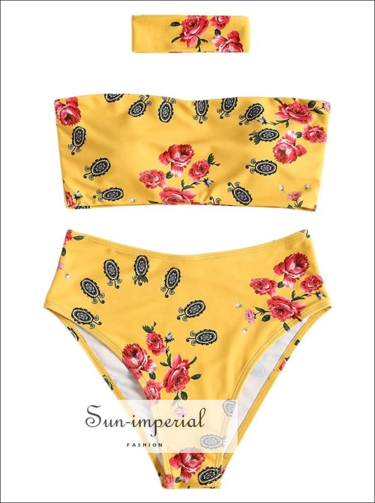 Yellow and White Floral High Rise Strapless Bikini Swimwear Beachwear