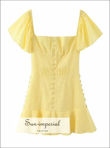 Yellow Buttoned Mini Dress Ruffles Square Collar Party chick sexy style, going out dress, night and about party dress SUN-IMPERIAL United
