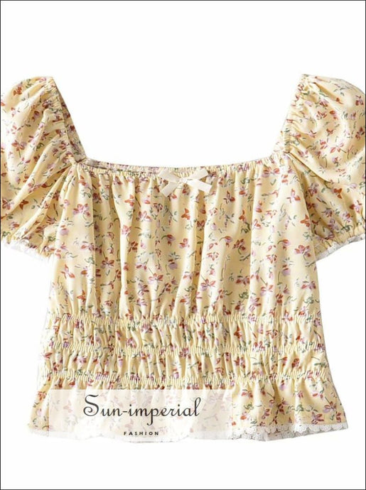 Yellow Floral Print Shirred Cropped top Short Sleeve Women Blouse with Bow detail chick sexy style, vintage style SUN-IMPERIAL United States