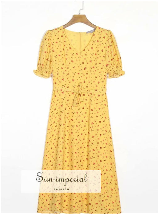 Yellow Floral Vintage V Neck Midi Dress Witj Short Flare Sleeve detail and Sashes bohemian style, boho casual vintage vintagestyle