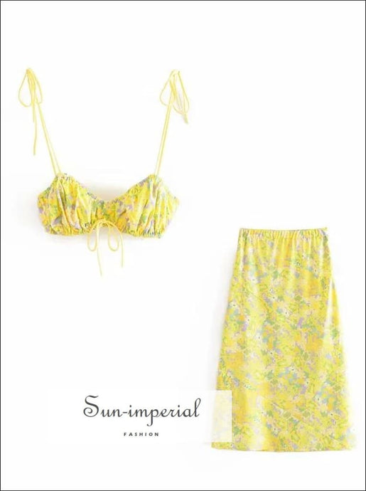 Sun-Imperial Yellow Green Floral Print Cami Tie Dye Strap Cropped Vintage Crop top and Midi Skirt Two Piece Set