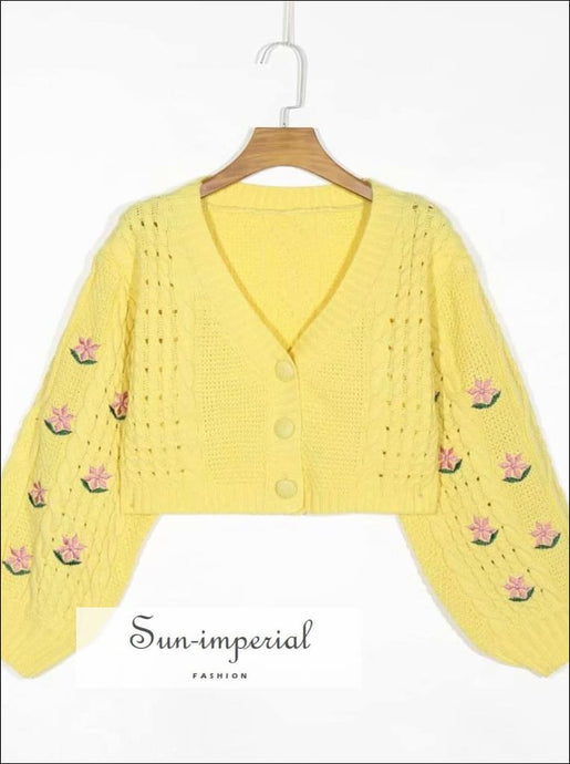 Yellow Letran Long Sleeve Floral Embroidery Vintage Buttoned Cardigan Women Casual Knitted Sweater chick sexy style, vintage style
