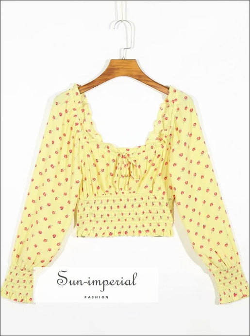 Yellow Long Sleeve Blouse with Red Floral Print Shirred Women top Bow detail SUN-IMPERIAL United States