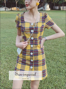 Yellow Plaid Mini Dress Short Sleeve Buttoned front Square Neck