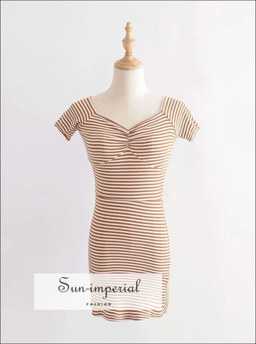 Yellow Striped off the Shoulder Bodycion Sweetheart Neck Ribbed Mini Dress Short Sleeve